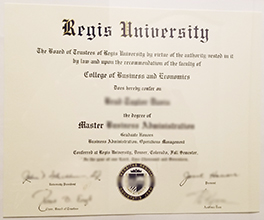 fake Regis University diploma sample