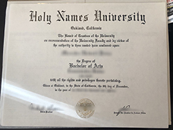 Fake Holy Names University Degree Sample