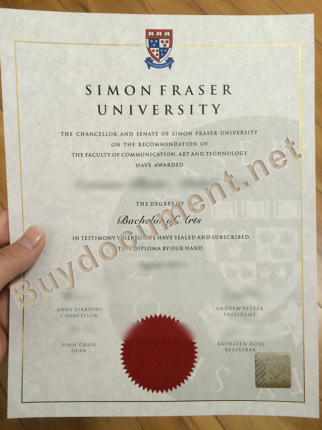 Simon Fraser University degree sample, Simon Fraser University diploma order