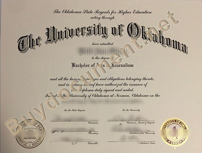 University of Oklahoma diploma, University of Oklahoma degree