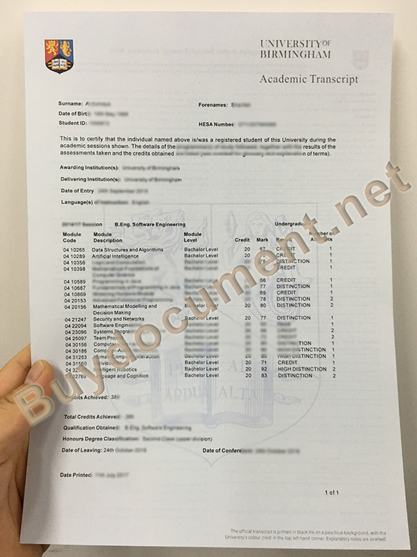 buy fake diploma, University of Birmingham fake transcript