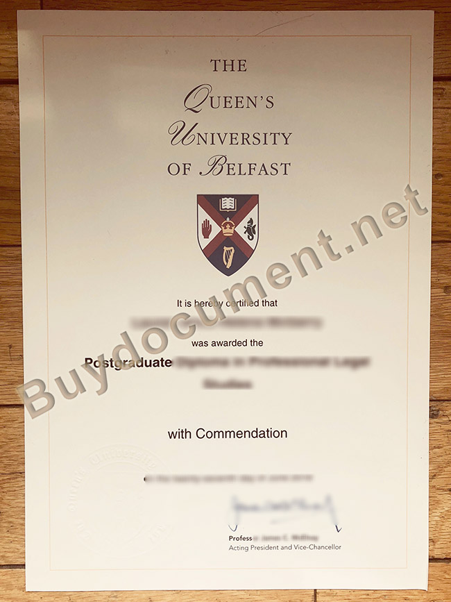 Queen's University Belfast diploma, fake Queen's University Belfast degree