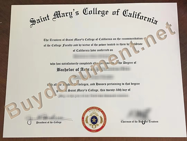 Saint Mary's College of California diploma, fake Saint Mary's College of California degree